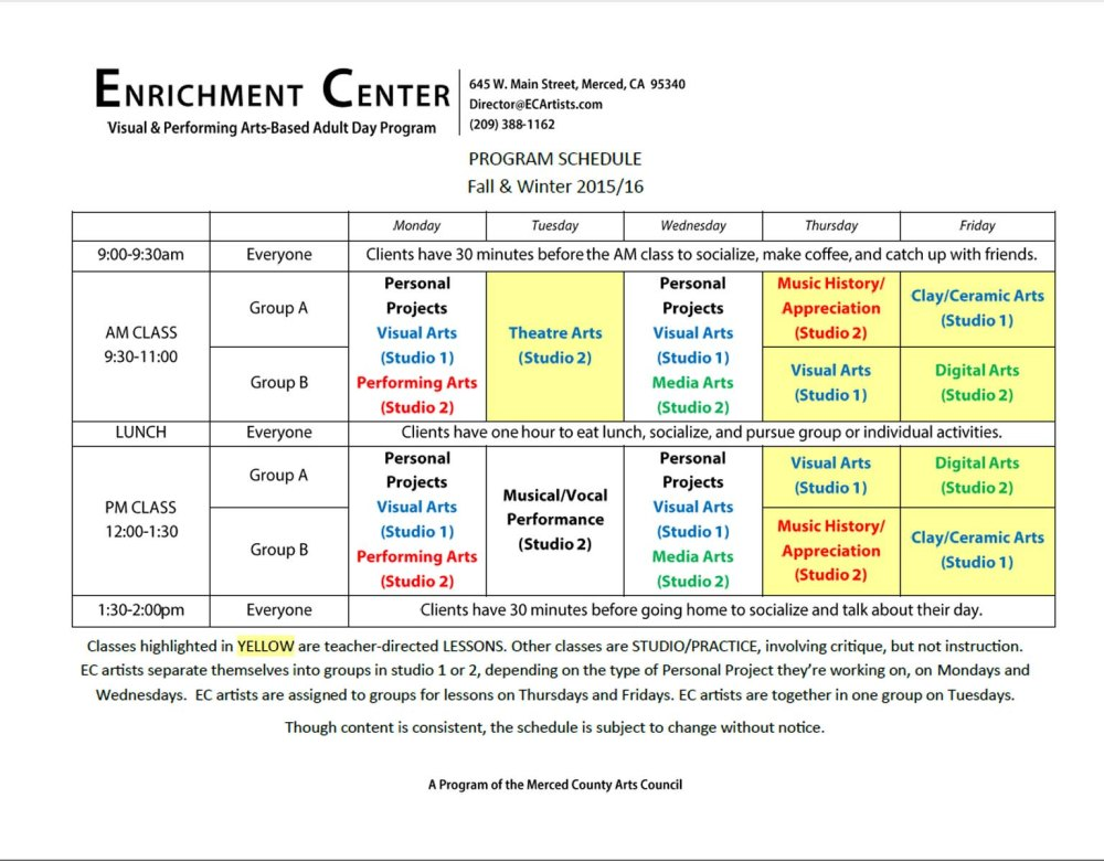 EC Program Schedule - Fall/Winter 2015/2016