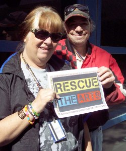 "Shirley & James Brizendine at the Arts Center, during the ""Rescue the Arts"" campaign. 2011."