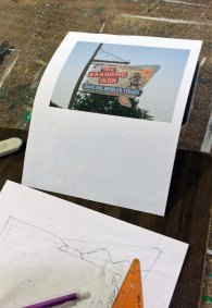 EC veteran James Brizendine working out a sketch from a photo of a local landmark, the Branding Iron restaurant.